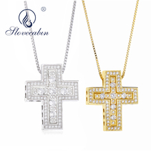 Slovecabin Japan Design 100% 925 Sterling Silver Cross Pendant & Necklace For Women Double Cross Pendant Men Necklace Jewelry