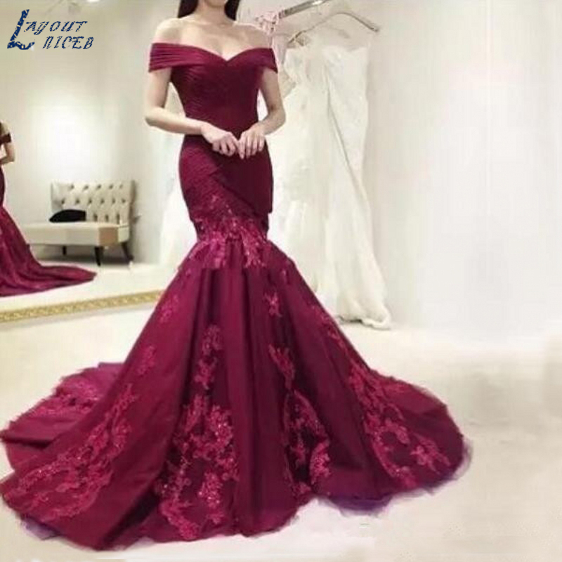 AE0916 Burgundy Evening Dress Prom Dress Mermaid Off Shoulder Lace Tulle Long New Arrival Prom Dress