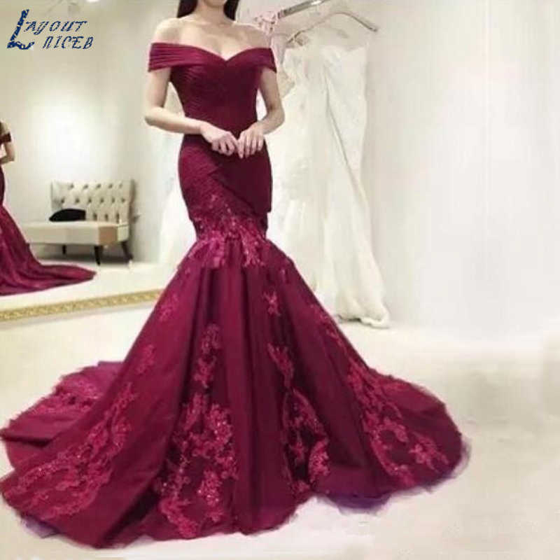 c80781add7 Abiti da cerimonia da Sera Sexy Burgundy Long Evening Gown Mermaid ...