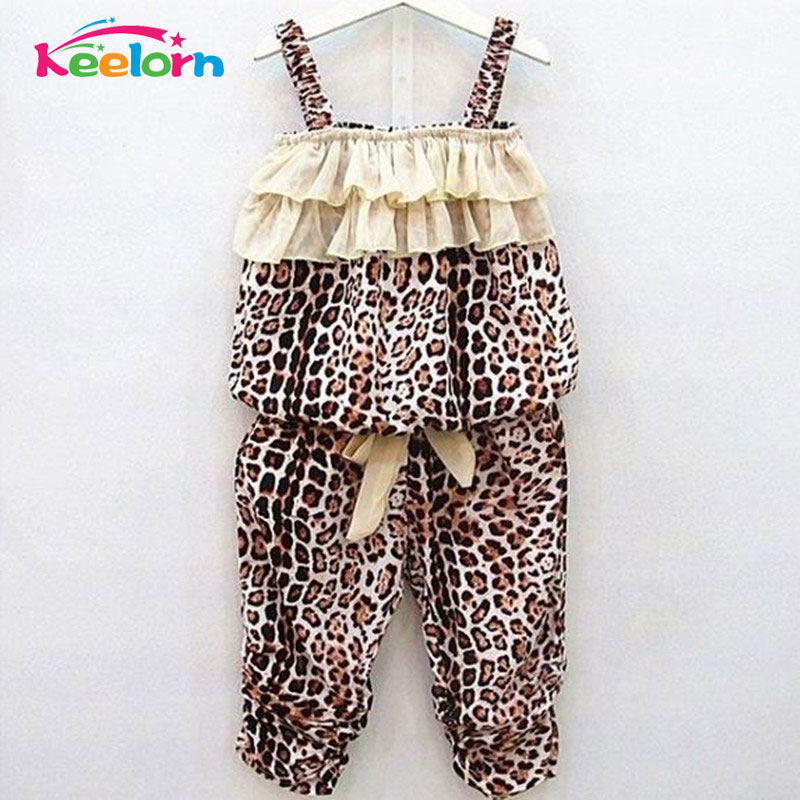 Keelorn Fashion summer suits the girl 14 years the new leopard condole top match with leopard grain haroun pants wild fashion girl s fashion suits 100
