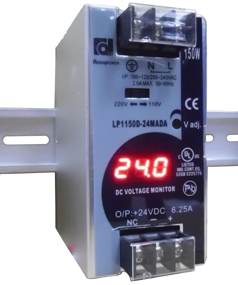 150W 24V 6.25A Mini size Din Rail Single Output Switching power supply with voltmeter voltage display monitior 100-240V input