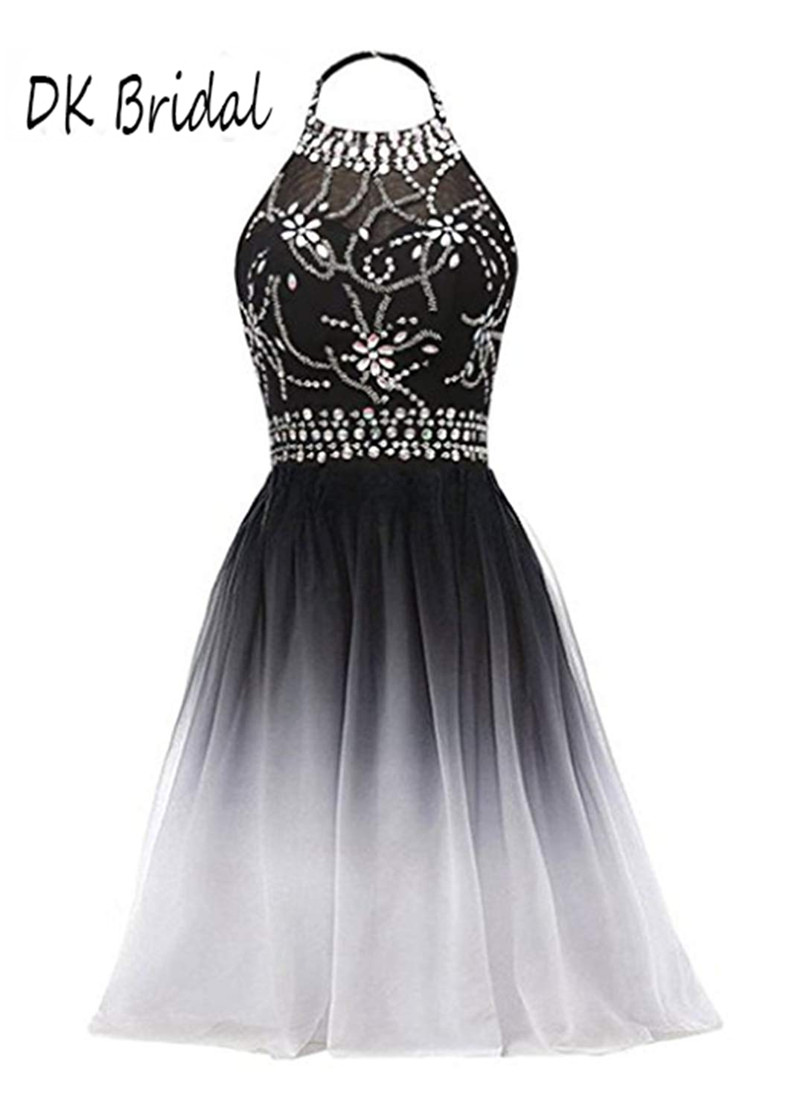 Us 75 19 6 Off Dk Bridal Halter Grant Chiffon Bridesmaid Dresses Short Black White Ombre Beaded Formal Gowns Prom Party Dk1809 In