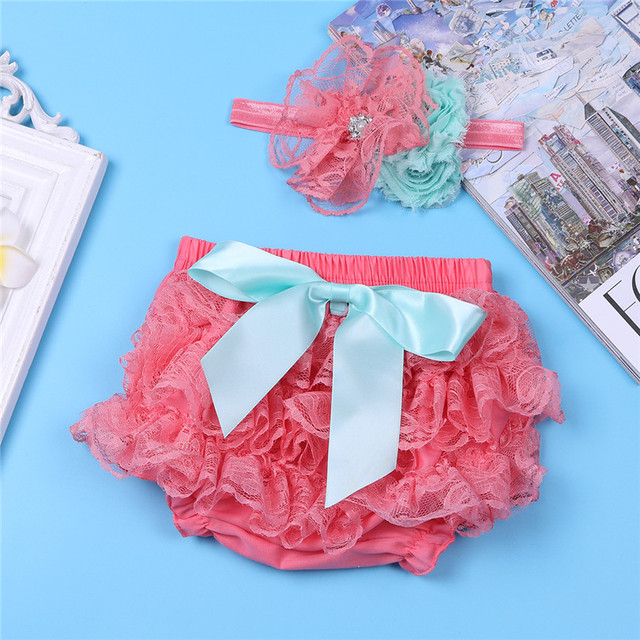 8c2d66ea66 2017 Lace Newborn Watermelon Red Coral Infant Baby Girls Ruffled Pantie  Bowknot Bloomer Diaper Cover Flower Toddler Kid Shorts
