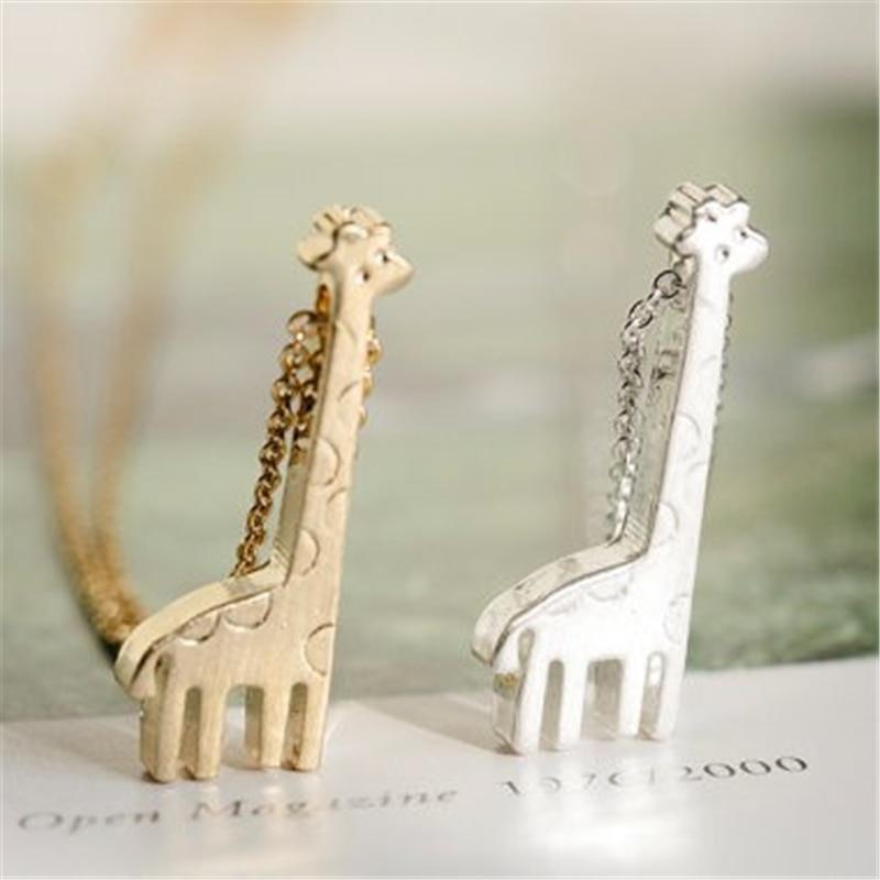 ᓂModa pequeña jirafa patrón collar collares de color de oro para ...