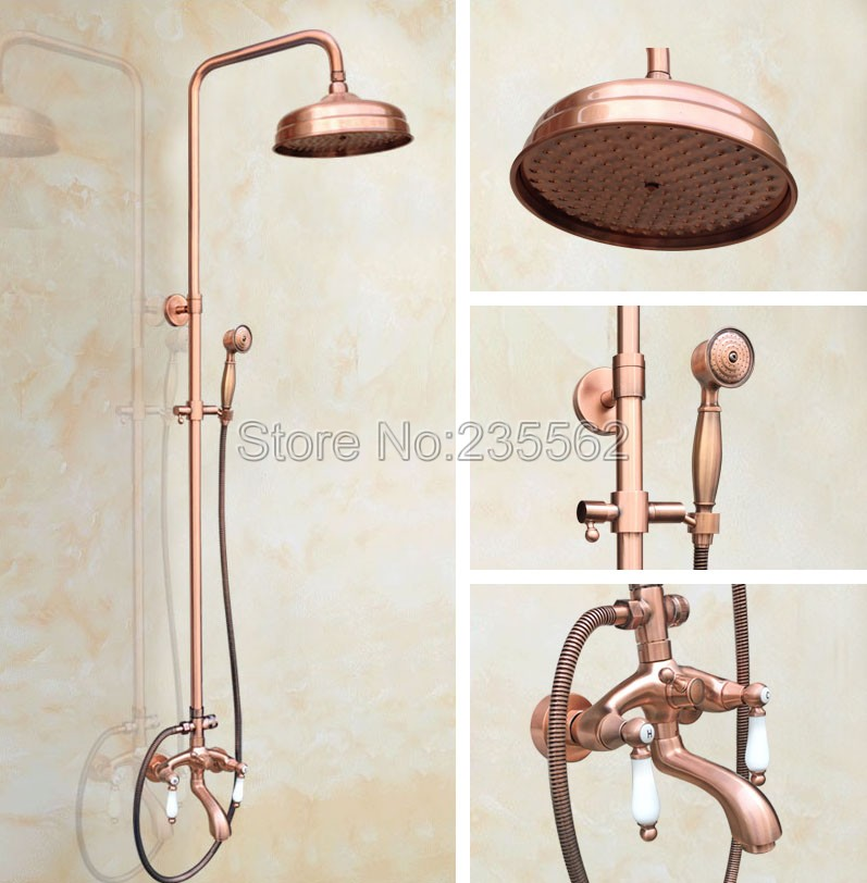 Classic 8 inch Rainfall Bathroom Rain Shower Faucet Set Antique Red Copper Finish Wall Mounted Tub Mixer Taps lrg561