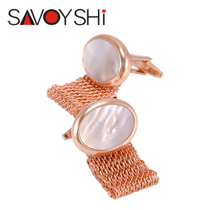 SAVOYSHI Luxury Shell Cufflinks for Mens Shirt Cuff bottons Cuff Brand High Quality Chain Cuff Link Wedding Gift Mens Jewelry