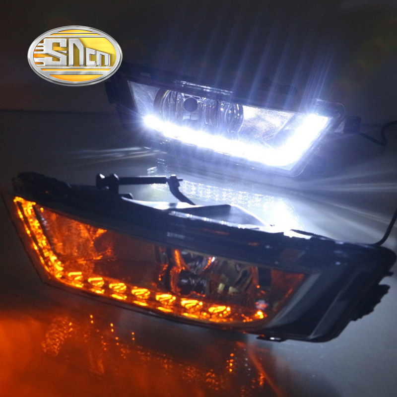 SNCN With Yellow Turning Signal Relay Waterproof 12V Car DRL Lamp LED Daytime Running Light For Skoda Octavia A7 MK3 2014 - 2016 waterproof car relay 12v 40a 4 modified car with cable