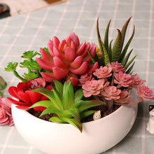 Artificial Green Purple Red Flocking Succulent Plants DIY Home Garden Office Wedding Decoration Mini Bonsai Plante Artificielle(China)