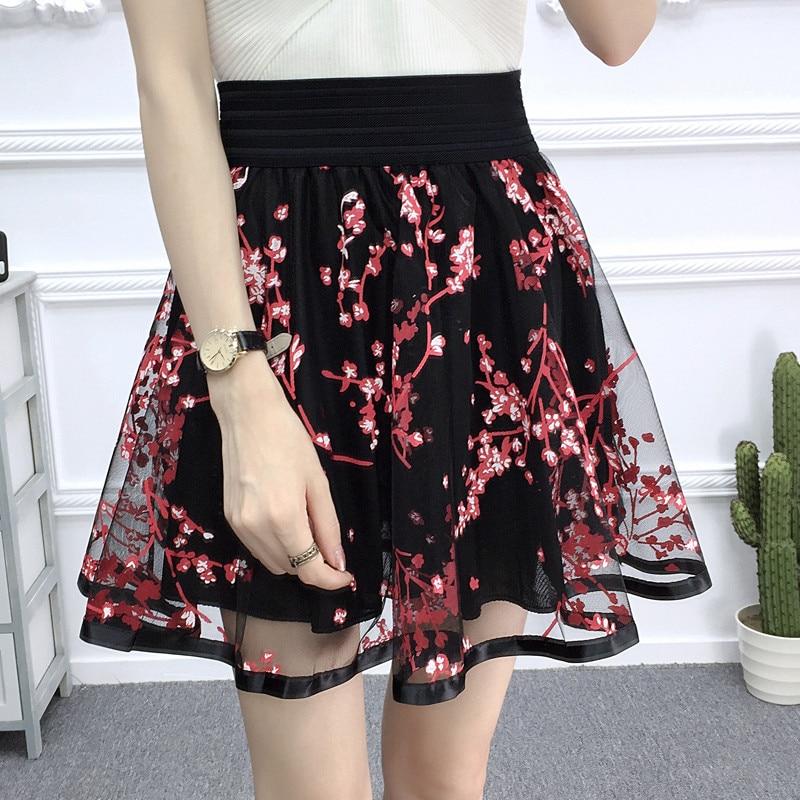 85baff6f5ce8f Women Tulle Lace Skirt 2018 New Spring Summer Elastic High Waist ...