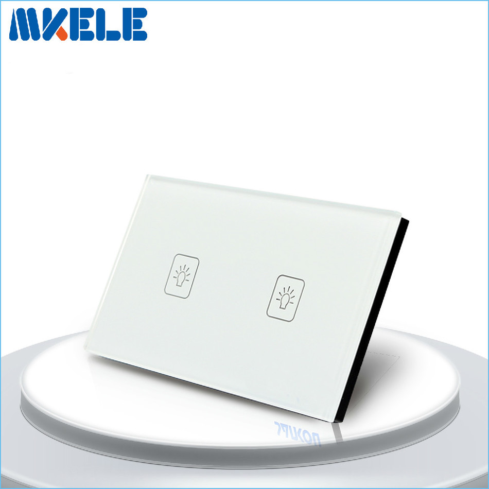 US Standard Touch Switch 2 Gang 1 Way White Crystal Glass panel,Light Switch ,Touch Screen wall switch,wall socket for lamp 2017 free shipping smart wall switch crystal glass panel switch us 2 gang remote control touch switch wall light switch for led