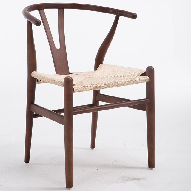 Modern Hans Wegner Wishbone Dining Chair Beech Wood Walnut/Red  Brown/Natural Finish Y