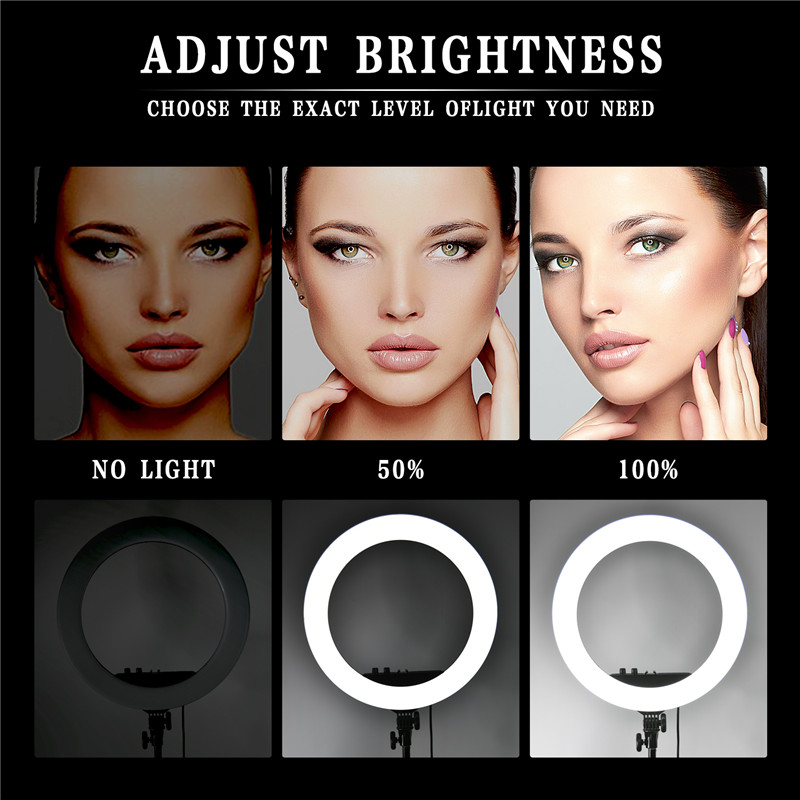 FOSOTO RL-18II Ring Lamp 18 Inch Photographic Lighting Ringlight 512Pcs Led Ring Light With Tripod Stand For Camera Phone Makeup