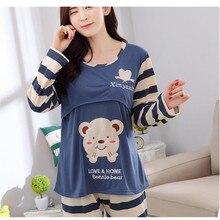 Пижамы для беременных, кормящих грудью, наборы, хлопковые весенние пижамы для кормящих, для беременных женщин, с длинным рукавом, для беременных, пижамы D0005