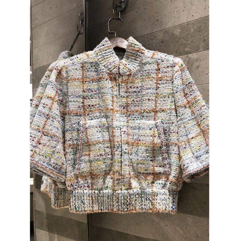 Kadın Giyim'ten Basic Ceketler'de Bahar yaz 2019 renk tüvit dokuma çift cep fermuar kısa ceket yüksek kaliteli kadın çizgili ipek'da  Grup 1