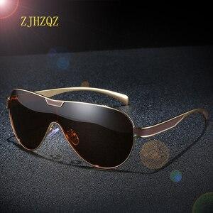 Image 1 - ZJHZQZ Oversized Pilot Polarized Sunglasses Siamese Film Avaiation Brown Black Silver Men Eyeglasses Women Glasses UV400 Eyewear