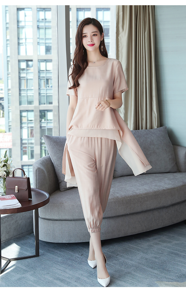 2019 Summer Linen Two Piece Sets Women Plus Size Short Sleeve Tops And Cropped Pants Suits Office Elegant Casual Women's Sets 47