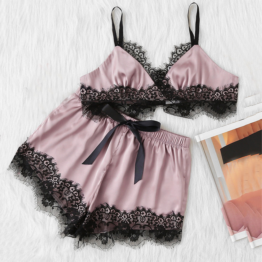 2019 Women Sleepwear Sleeveless Strap Nightwear Lace Trim Satin Sling Cami Top   Pajama     Sets   Sexy Bowknot Lingerie Intimate #VB7