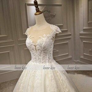 Image 3 - Lover Kiss Vestido De Noiva Luxury Sparkle Wedding Dresse 2020 Lace Beaded Cap Sleeves Princess Bridal Gowns Robe De Mariee