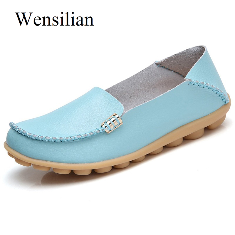 цены Summer Ballet Flats Genuine Leather Shoes Women Slip On Loafers Women Black Comfortable Ladies Casual Shoes Zapatos Mujer