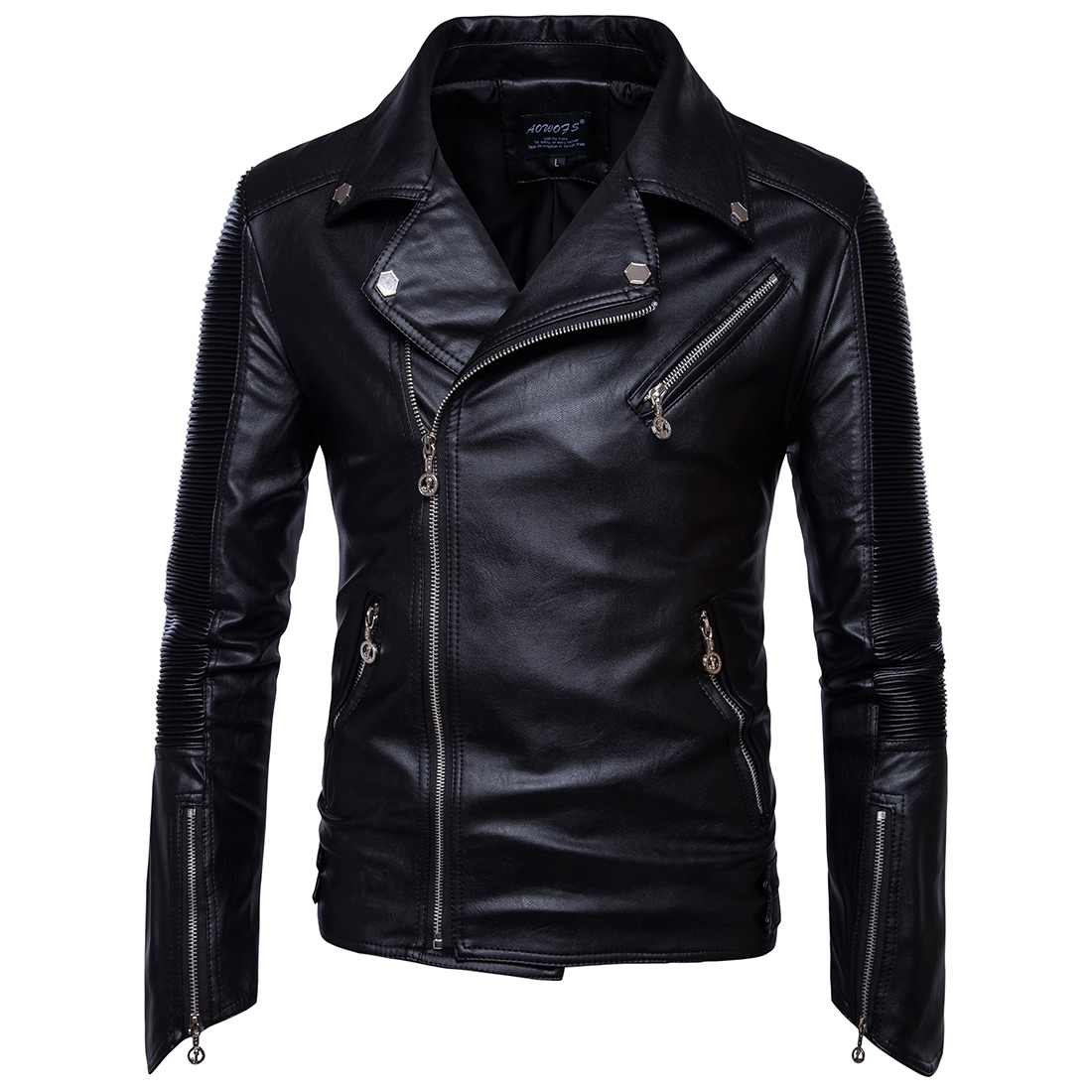 Autumn and winter fashion moto jackets side zipper Placket PU leather motorcycle jacket men black coat Slim stand collar