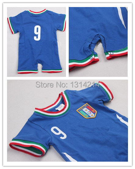 Baby Cotton Italia Soccer Jerseys Infants Rompers Shirts 0 2 Years