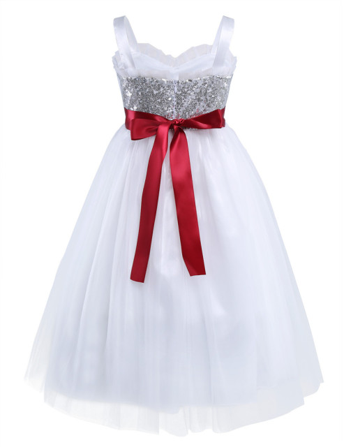 Bridal Princess Sequin White Dress for Kids