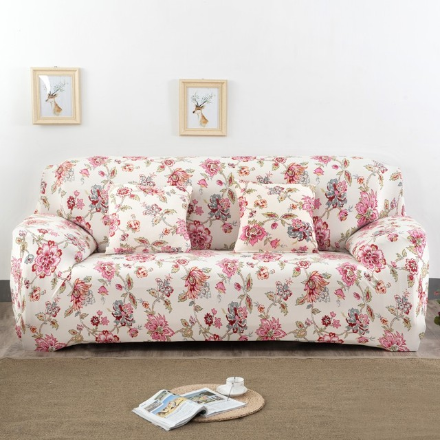 Spandex Stretch Red Flower Pattern Sofa Cover Elasticity 100 Polyester Furniture