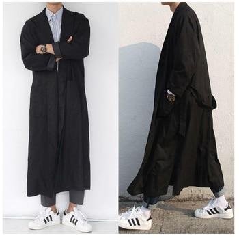Men's Belted Lapel Long Trench Coat Loose Windbreaker Black Coat New Men Long Sleeve Streetwear Outwear Male