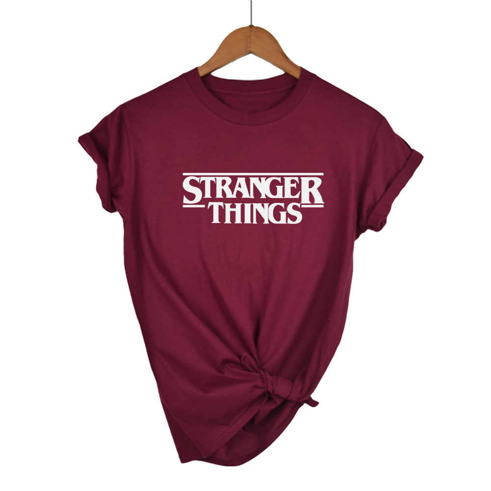 STRANGER THINGS Ringer Tee Hipster Shirts Tumblr Graphic T-Shirt Women Men Letter Print T Shirt Trendy Cotton Casual Tops