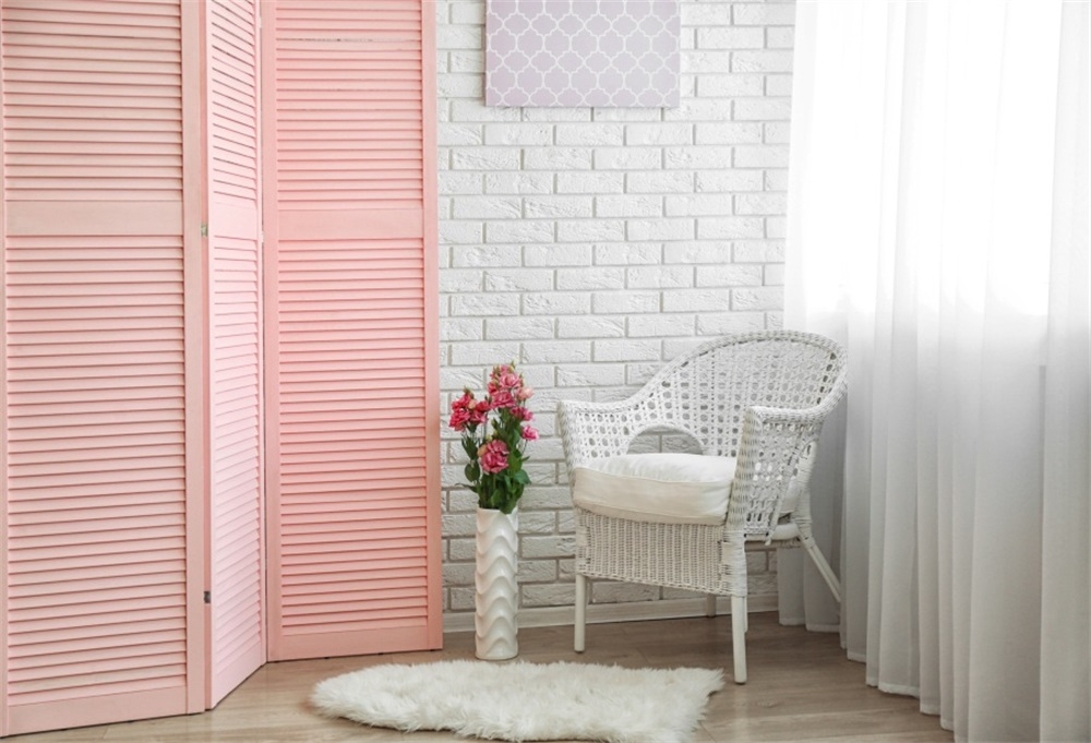 Us 3 84 23 Off Laeacco Screen Backdrops Backdrops White Brick Wall Corner Chair Blanket Flower Interior Photo Background Photocall Photo Studio In