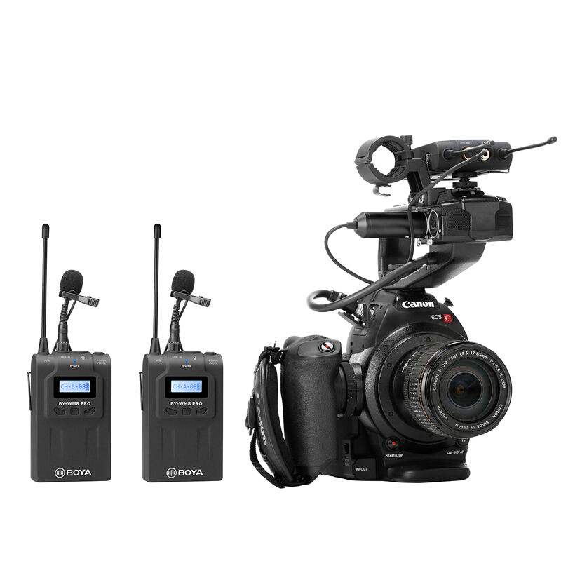 BOYA BY WM8 Pro K2 UHF Wireless Dual Channel Lavalier Microphone System for DSLR Camera Camcorder Smartphone Interview ENG EFP in Microphones from Consumer Electronics
