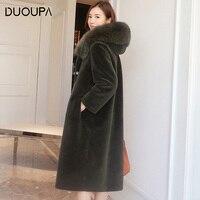 DUOPA Winter Fashion woman's coat women sheepskin coat women's fur coat real wool sheepskin shearling coat real fox fur hooded