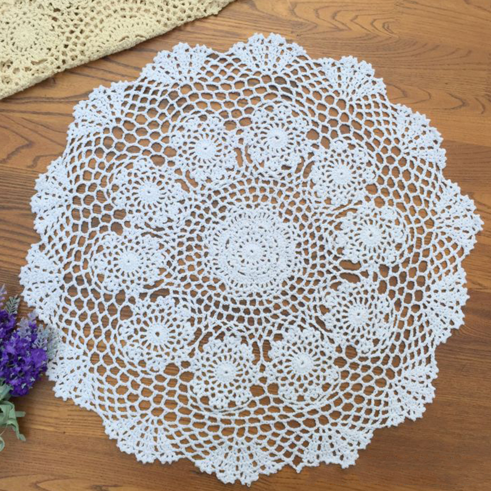 Yazi handmade cotton hollow floral placemat round doily pads yazi handmade cotton hollow floral placemat round doily pads crochet table mat table cover tablecloths in mats pads from home garden on aliexpress bankloansurffo Image collections