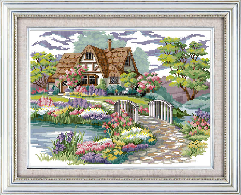 Joy sunday Dream house Printed on Canvas DMC Counted Cross Stitch Kits printed Cross-stitch set Embroidery Needlework