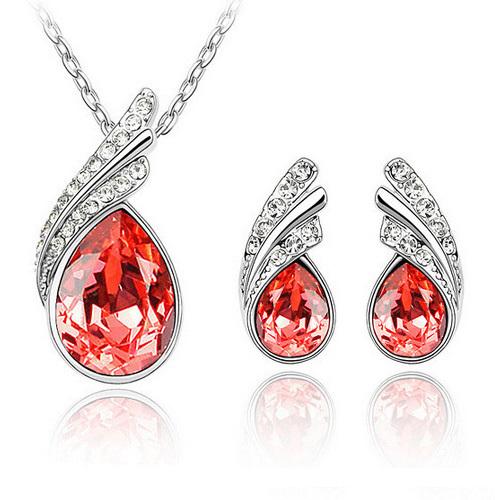 Fashion Crystal Teardrop Jewelry Set