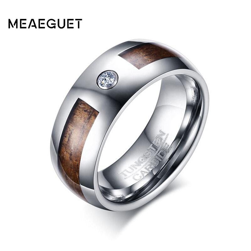 Meaeguet Cubic Zirconia Monili di Legno Fedi Nuziali delle Carburo di Tungsteno Anello di Fidanzamento Da Uomo 8mm