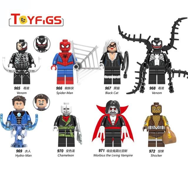 Marvel Super Heroes Catwoman Coringa Batman spiderman Veneno mini Blocos de Construção tijolos Compatível Com Playmobil Figuras Ninjao