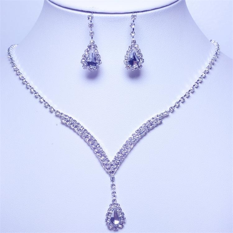 Crystal Bridal Jewelry Set Silver Water Drop Necklace Stud Earrings Wedding Jewelry Sets for bride Bridesmaids Party Accessories(China)