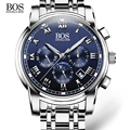 Angela bos business aço inoxidável relógio de quartzo homens relógio data semana mês luminosa à prova d' água mens relógios top marca de luxo 2016