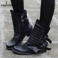 2017 New Style Genuine Leather High Quality Women Ankle Boots Black Straps Zapatos Mujer Flat Shoes Women Booties Botas Mujer