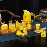 Ceramic Chinese zodiac set custom shot glass of Chinese white wine CIQ Eco Friendly drink glass set