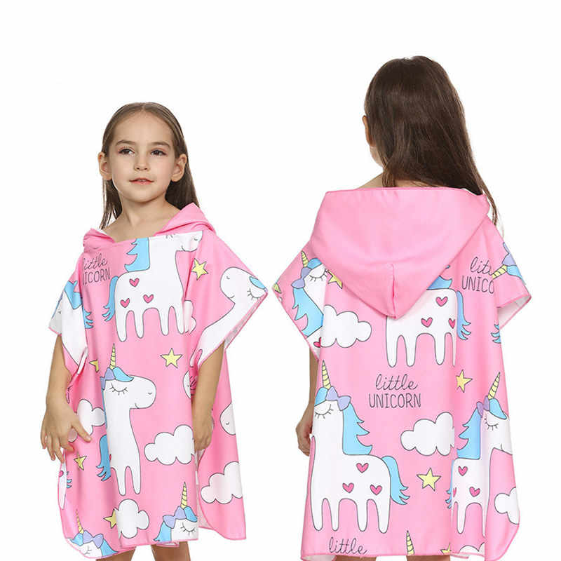 ea3302baaa Cartoon Unicorn Printed Girl Bath Robes 2018 New Kids Wearable Beach Towel  Hooded Microfiber Children Bathrobe