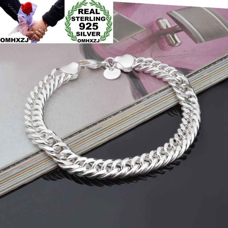 OMHXZJ Wholesale Personality Fashion Man Party Gift Silver Full Lateral Chain 925 Sterling Silver Cuff Bangle Bracelet BR208