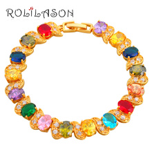Gorgeous Color Crystal AAA Zircon Gold Tone Bracelets for women Health Nickel Lead free Fashion jewelry