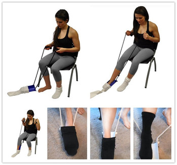Wearing a sock aid support Appliance, DISABILITY AID PVC Sock Aid Stocking elderly Disability Assist Help Tool