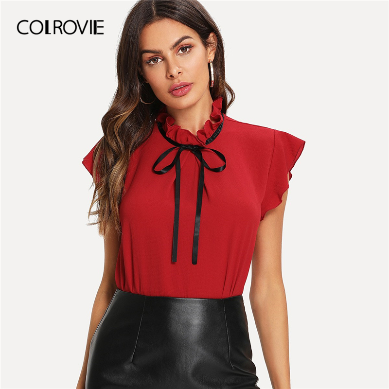 COLROVIE Red Bow Tied Fril Button Ruffle Preppy   Blouse     Shirt   Women 2019 Summer Korean Fashion Vintage Ladies Tops And   Blouses
