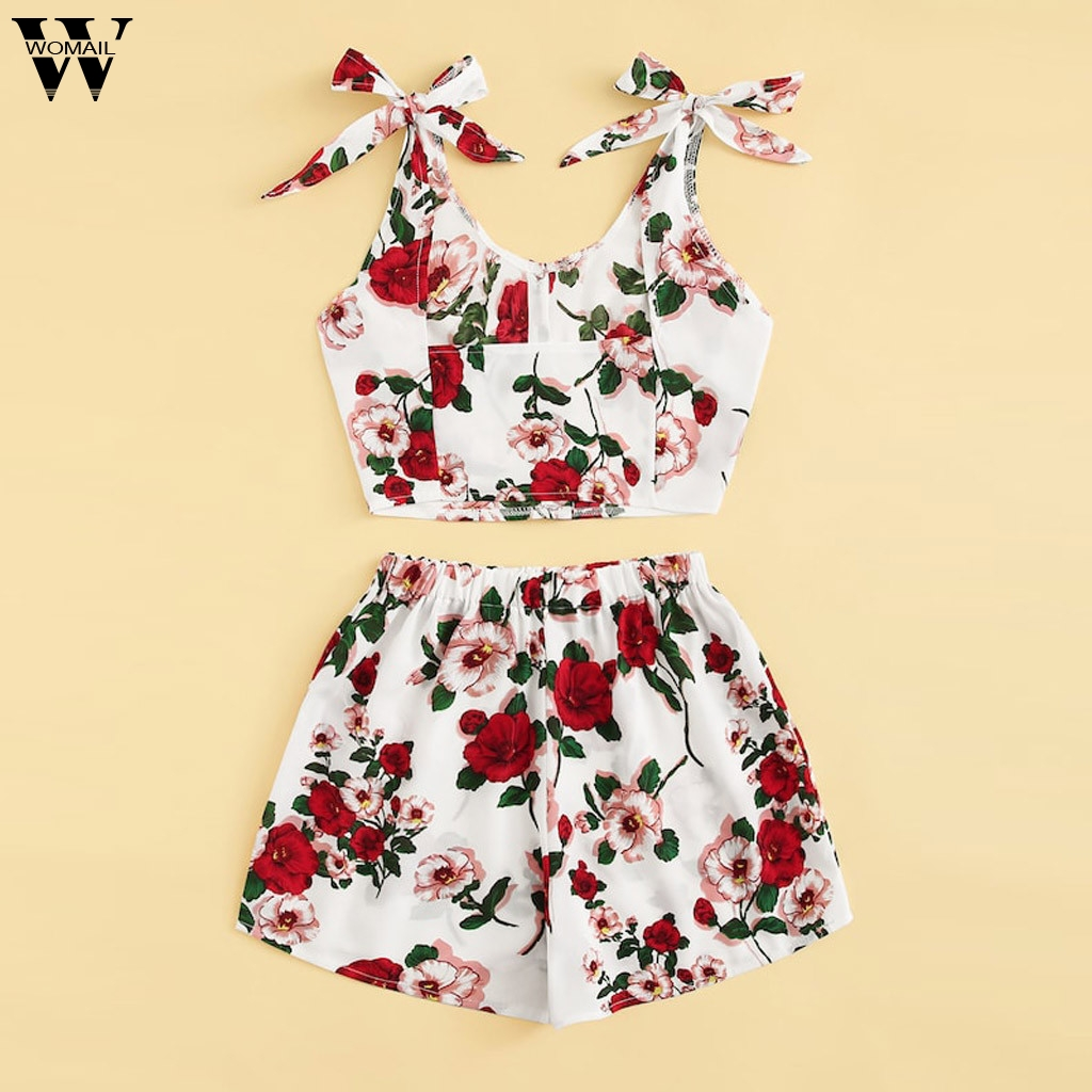 Womail Women Tracksuit Summer 2PCS Sleeveless Floral Print Tank Top Shorts Sport Top Vest + Shorts Set Fashion 2019  A15