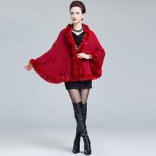 Womens capes with fur fake fox fur trim lady cashmere Pashmina sweater Shawl autumn Winter Warm Cardigan female fur Coat thick