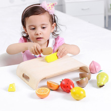 Wooden children's magnetic fruits and vegetables cut to see puzzle early education simulation play house toys children's toys wooden child maintenance tool toolbox simulation house toys set puzzle early education montessori toys