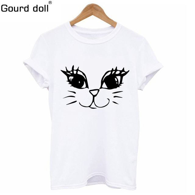 db991790a Nueva impresión de Cactus las mujeres Camiseta de algodón Harajuku gato  Kawaii verano Mujer Tee Top